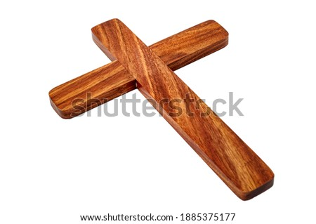 Happy Easter, praying for the grace of Jesus Christ and Christian tradition concept with picture of wood cross or crucifix isolated on white background with clipping path cutout
