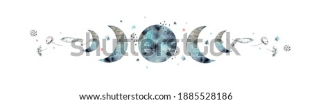 Creative watercolor illustration with full moon and crescents, stars, feathers, flowers, poppies and other decorative elements in abstract style on a white background. For print, astrology and more.