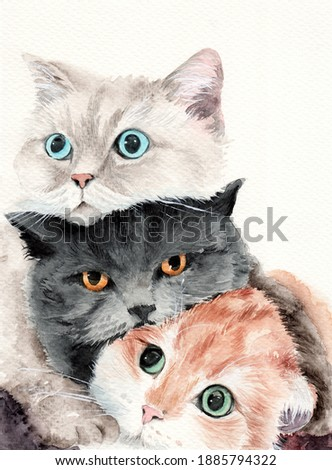 Watercolor illustration of three funny fluffy cats lying on top of each other, a white cat with blue eyes, a black cat with amber eyes and a ginger cat with green eyes