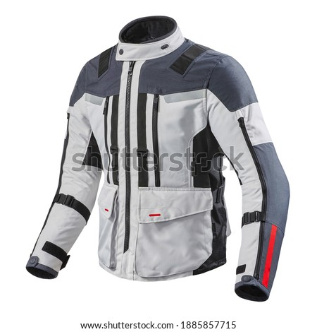 Black and White Motorcycle Jacket Isolated on White. Zipper Riding Jackets with Armor Shoulder and Elbow Protectors. Zippered Cycle Gear Abrasion Resistant Polyester. Sports Outwear Royalty-Free Stock Photo #1885857715