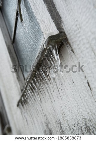 Icy Hen House Window Rustic Winter Ice Storm Rural Midwest Royalty-Free Stock Photo #1885858873