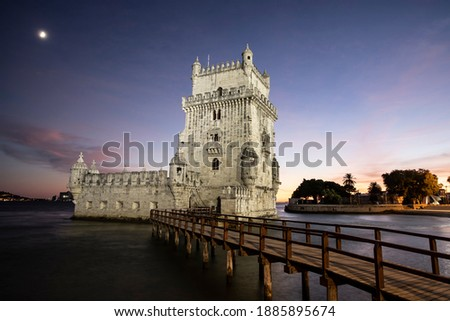view of the historic Belem tower located in Lisbon in Portugal. It is a fortified tower declared a UNESCO World Heritage Site and being the symbol of the city it is highly appreciated by tourists Royalty-Free Stock Photo #1885895674