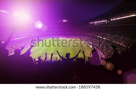 Crowded soccer stadium Royalty-Free Stock Photo #188597438