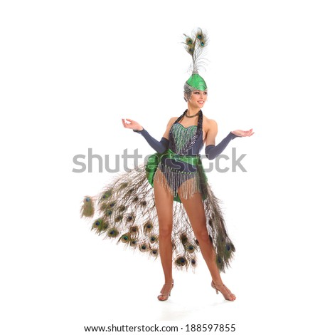 Burlesque dancer with peacock feathers and green dress  #188597855