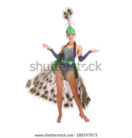 Burlesque dancer with peacock feathers and green dress  #188597873