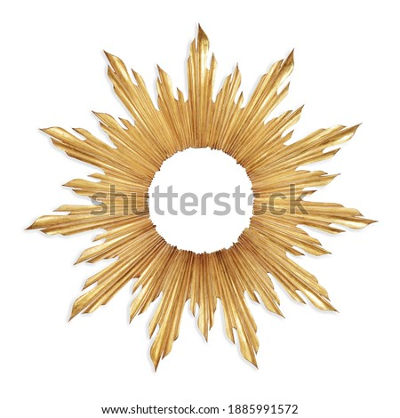 Gold Sunburst Venetian Accent Wall Mirror in Sun-Ray Frame Isolated. Decorative Golden Sun Vintage Art Deco Beveled Round Mirror for Living Room and Bedrooms. Wall Mounted Classic Circular Mirror Royalty-Free Stock Photo #1885991572