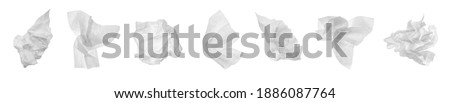 Set with used crumpled paper tissues on white background. Banner design Royalty-Free Stock Photo #1886087764