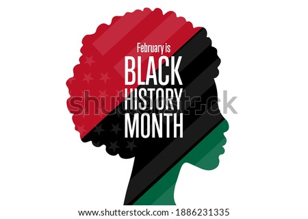February is National Black History Month. Holiday concept. Template for background, banner, card, poster with text inscription. Vector EPS10 illustration Royalty-Free Stock Photo #1886231335