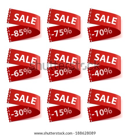 Set of sew in SALE labels with different discount percentage. #188628089