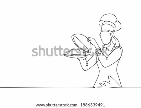 Single one line drawing young attractive female chef serving delicious cuisine on restaurant. Holding and opening tray cloche modern template one line hand drawn vector illustration minimalism style Royalty-Free Stock Photo #1886339491