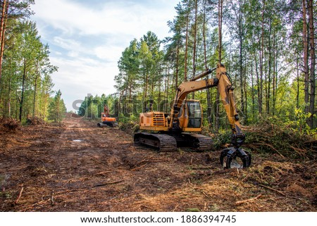 Excavator Grapple during clearing forest for new development. Tracked Backhoe with forest clamp for forestry work. Tracked timber Crane and Hydraulic Grab log Loader. Royalty-Free Stock Photo #1886394745