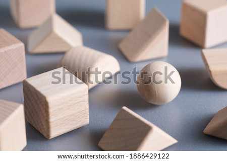 Closeup one wooden sphere ball in the group of geometry wood blocks, find your niche concept