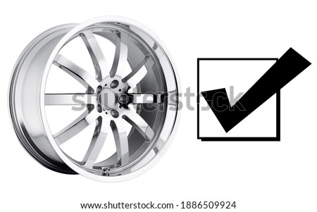 Car Rim Isolated on White Background. Stainless Steel Auto Parts. Polished Chrome Automobile Racing Wheels. Clipping Path. Front View of Alloy Wheel Rim. Truck Aluminum Wheel