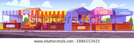 Outdoor market stalls, fair booths, wooden kiosks with striped awning, clothes and food products. Wood vendor counters with sunshade for street trading, city retail places, cartoon vector illustration Royalty-Free Stock Photo #1886553421