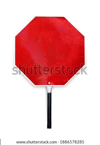Blank stop sign used for traffic control by crossing guards, police or work zones. Hand-held paddle stop sign template or mockup. Aged red metal texture sign in octagon shape. Isolated on white.