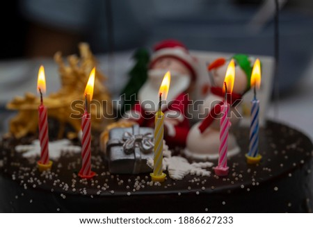 Birthday cake with candles. Happy year for people.