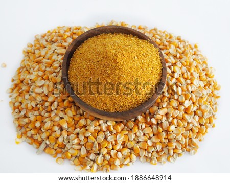 Yellow gold Corn Distiller's dried grains with solubles (DDGS) and corn grains are the nutrient rich co-product of dry -milled ethanol .The biofuel plants are a growing source Royalty-Free Stock Photo #1886648914