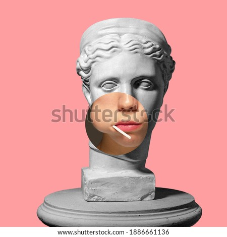 Collage with plaster head model, statue and female portrait isolated on pink background. Negative space to insert your text. Modern design. Contemporary colorful and conceptual bright art collage. Royalty-Free Stock Photo #1886661136