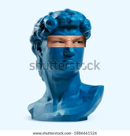 Collage with David's head replica, statue and male portrait isolated on white background. Negative space to insert your text. Modern design. Contemporary colorful and conceptual bright art collage. Royalty-Free Stock Photo #1886661526