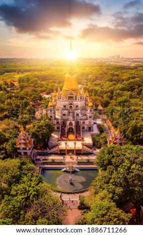 Aerial view of Buu Long Pagoda in Ho Chi Minh City. A beautiful buddhist temple hidden away in Ho Chi Minh City at Vietnam. A mixed architecture of India, Myanmar, Thailand, Laos, and Viet Nam Royalty-Free Stock Photo #1886711266