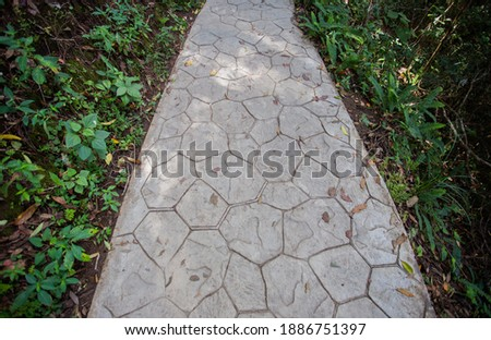 The walkway with cement floor has grass on the side. Royalty-Free Stock Photo #1886751397