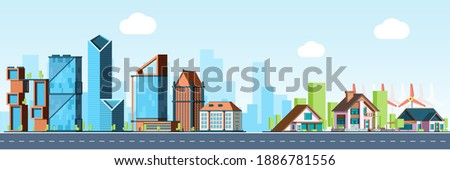 Megapolis vs village. Urban landscape, downtown and suburb real estate vector background Royalty-Free Stock Photo #1886781556
