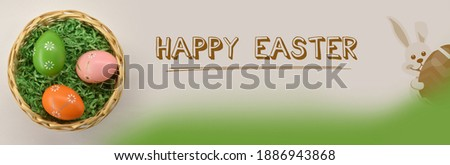 Nest with easter eggs on white background. Happy Easter. Easter Congratulations Card. Easter decoration, banner, panorama, background.