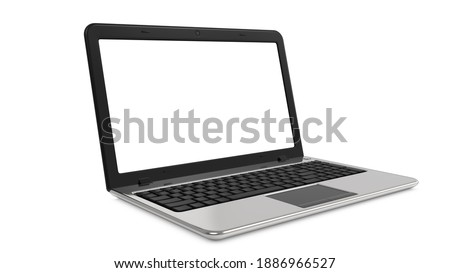 Laptop realistic with white blank screen in mockup style. 3d rendering of Notebook computer isolated on a white background