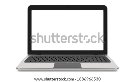 Front view of Laptop realistic computer with blank screen in mockup style. 3d rendering illustrarion isolated on a white background