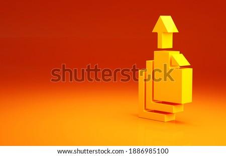 Yellow Data export icon isolated on orange background. Minimalism concept. 3d illustration 3D render.
