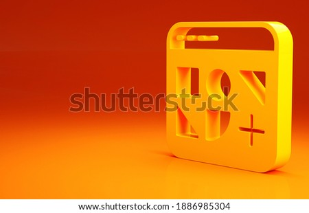 Yellow Different files icon isolated on orange background. Minimalism concept. 3d illustration 3D render.