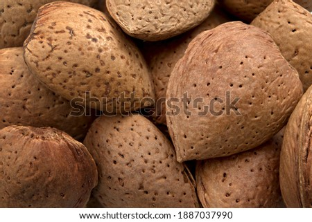 Protein rich vegetarian food, harvest abundance and agricultural backgrounds concept with full frame close up of many unpeeled raw almonds protected in hard shell #1887037990