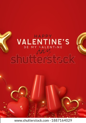 Happy Valentines day. Background with realistic 3d decor object. Two red Glass of wine, volumetric red heart and gold metal shape. Romantic banner, surprise poster, flyer and brochure. Holiday wedding Royalty-Free Stock Photo #1887164029