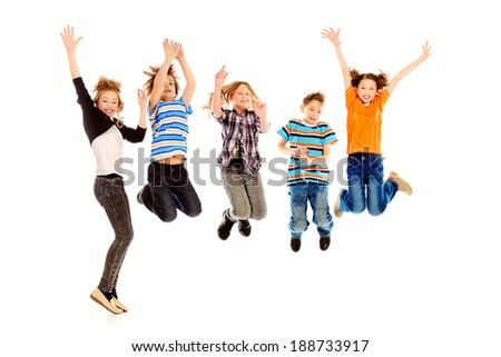 Cheerful boys and girls jumping for joy. Happiness. Isolated over white. #188733917
