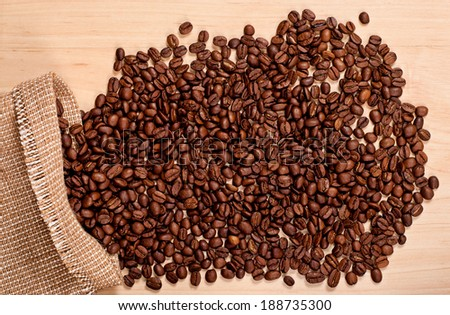 the coffee beans in burlap bag on tablel, top view #188735300