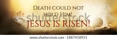 Jesus life chronology. Christian Easter concept. Born to Die, Born to Rise. Three crosses and empty tomb background. Jesus reason for season. Salvation, Messiah, Emmanuel, God with us