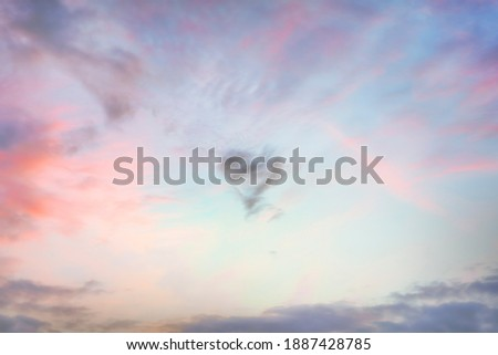 Heart Shaped Cloud in the sky at sunset. True high resolution photography texture background.