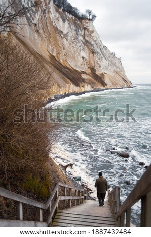 Landscape scenery view of Møns Klint the white chalk danish cliffs next to the Baltic sea in the island of Møn. Deep beautiful forest scenery with wooden stairs to the beach and steep cliff coastline Royalty-Free Stock Photo #1887432484