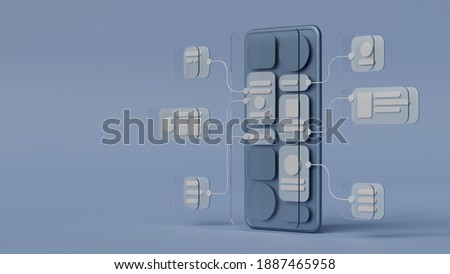UX UI flowchart connection node graphic designer creative planning application process development data prototype wireframe for web mobile icon phone . User experience concept. 3d rendering. Royalty-Free Stock Photo #1887465958