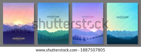 Vector illustration. Flat background set. Minimalist style. 4 landscapes collection. Mountain view, forest trees. Geometric polygonal design. Design for poster, book cover, banner, flyer, gift card Royalty-Free Stock Photo #1887507805