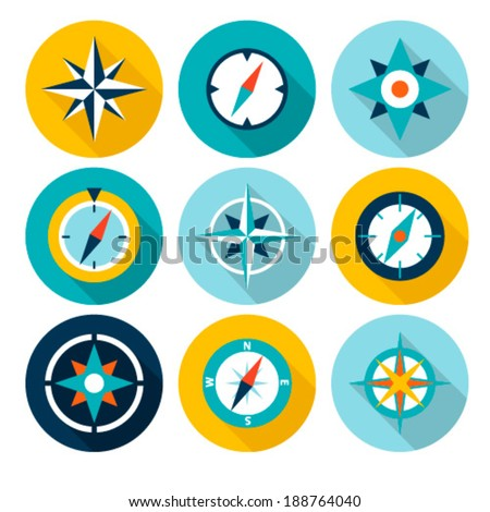 Compasses flat icons set. Vector illustration.