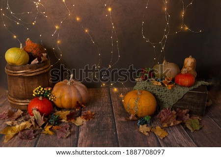 the wooden bed is decorated with autumn leaves and pumpkins. photo zone for a photo session of newborns. the bed is made of solid wood. backdrop for photography newborn