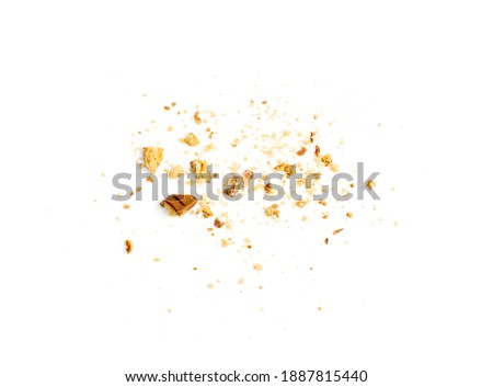 Crumbled chocolate biscuits pieces. Broken butter cookies bites with chocolate coating, soft biscuit crumbs isolated on white background top view Royalty-Free Stock Photo #1887815440
