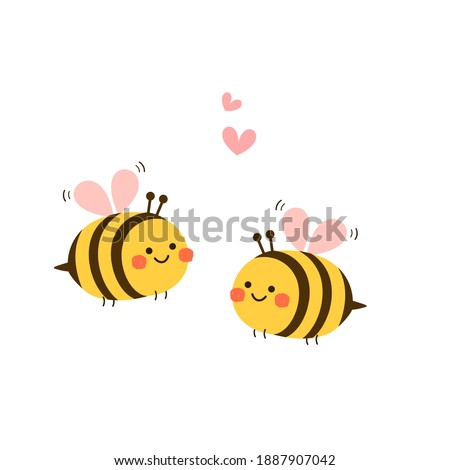 Valentine's day background with  cute bee cartoon and heart sign symbol on white background vector illustration. Royalty-Free Stock Photo #1887907042