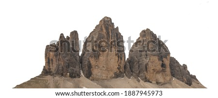The Three Peaks of Lavaredo (Tre Cime di Lavaredo, Trentino Alto Adidge, Dolomites mountains, South Tyrol, Italy, Europe) isolated on white background Royalty-Free Stock Photo #1887945973