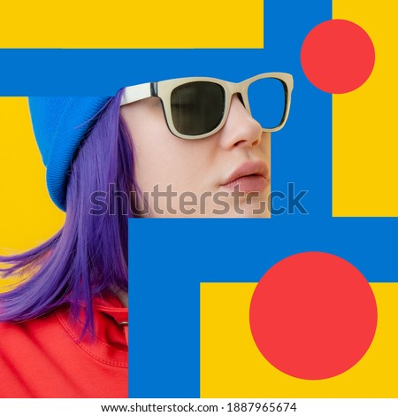 Art collage with close up fashion portrait young beautiful woman. Unusual youth fashion. Creative vogue concept poster in contemporary pop art style. Retro design. Funky minimalism. Zine culture. Royalty-Free Stock Photo #1887965674
