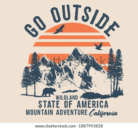 vector camping illustration and outdoor print for t shirts  Royalty-Free Stock Photo #1887993838