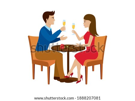 Beautiful loving couple toasting with champagne illustration. Young couple having date in bar, drinking wine and talking icon. Couple in love at the table clip art. Man and woman on a date icon
