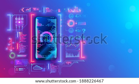 Mobile application development technology concept. Coding, programming apps for smartphones and mobile devices. Engineering or build of user interface layout cell phone. Mobile software of web service Royalty-Free Stock Photo #1888226467