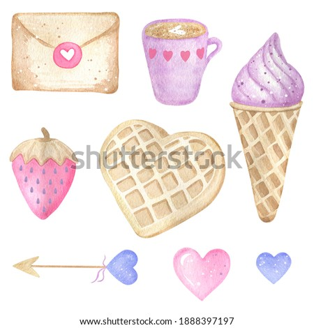Valentines day clip art. Love set. Valentines day set elements. Watercolor illustration with cappuccino, coffee, waffles, pink strawberry, purple heart, love letter.